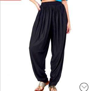 Black pleated dhoti pants